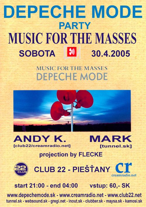 Plagát: Depeche Mode Music For The Masses Party