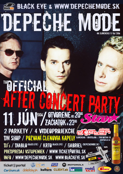 Plagát: Depeche Mode Official After Concert Party