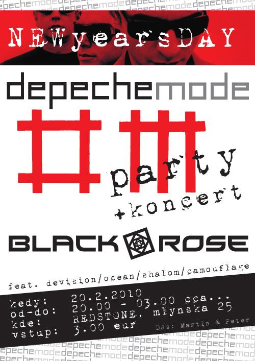Plagát: New year's day Depeche Mode Party + live Black Rose