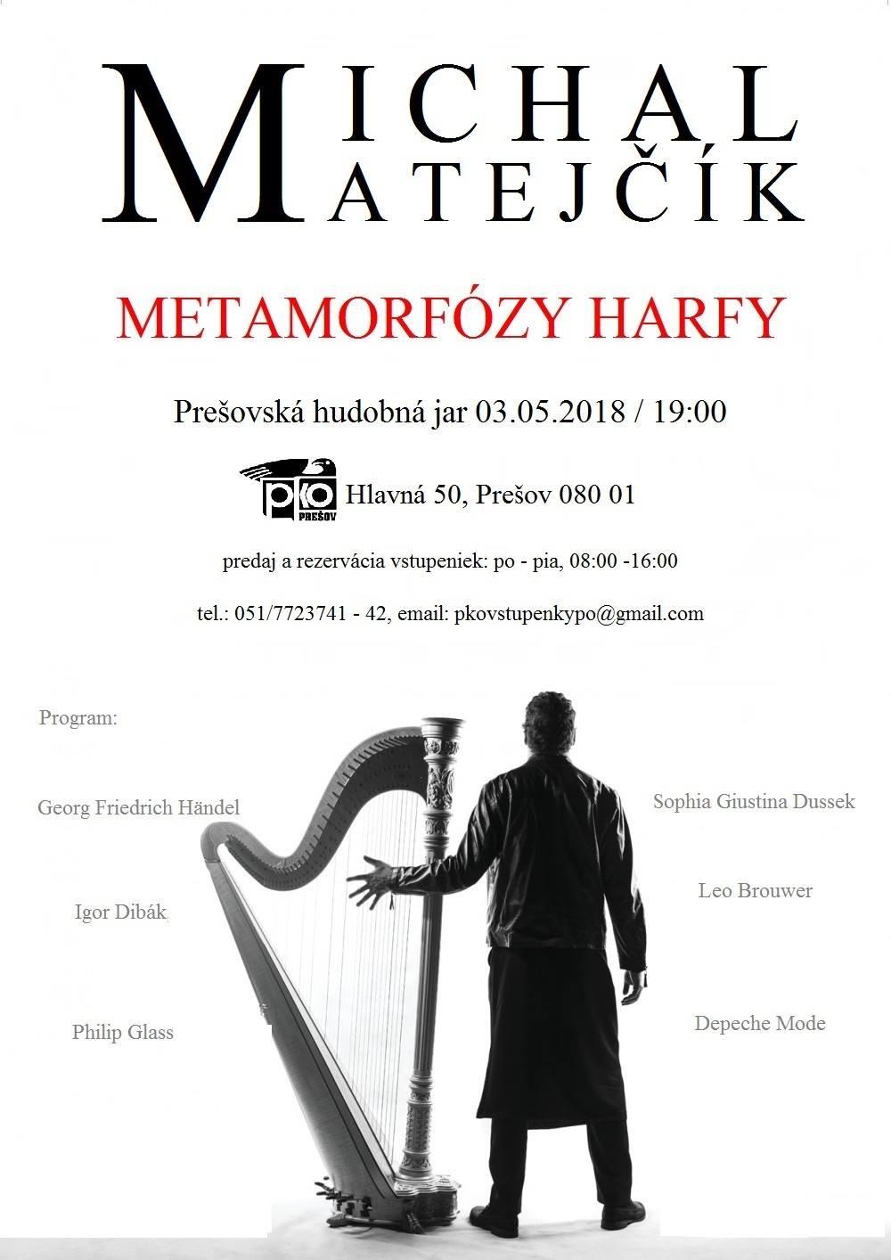 Plagát: Michal Matejčík (harfa) - Prešovská hudobná jar 2018